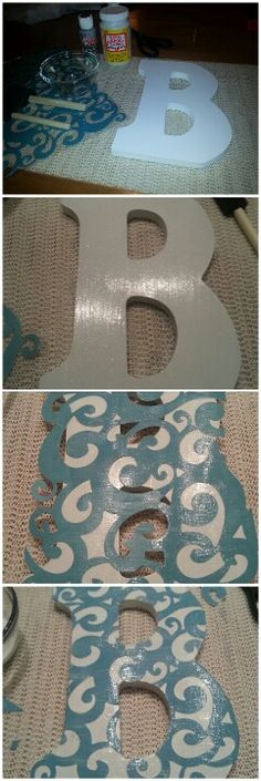 Fine glitter paint, Mod Podge, wooden letter, and lace cardstock!!