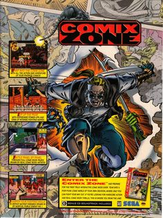 Comix Zone was a late-era Mega Drive brawler developed by Sega Technical Institute. While it really pushed the system's visual and sound capacities, the game proved to be rather short. The special CD mentioned in the advertisement differs based on your region – the PAL version has the actual original soundtrack, while the North American one has a dozen heavy metal tracks with little relation to the game.
