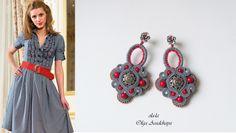 "Earrings ""North berry"" sutazhnaya embroidery, agate, acrylic, beads, Swarovski 80 USD"