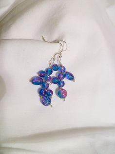 Beaded Dangle Earrings  blue and pink by StudioCKH on Etsy, $12.00