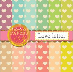 Hearts digital paper Love letter, vintage hearts, 12 heart backgrounds, valentines digital paper pack #handmade #paper