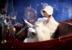 Miss Phryne Fisher (Essie Davis) driving her Hispano Suiza in 'Death at Victoria Dock'