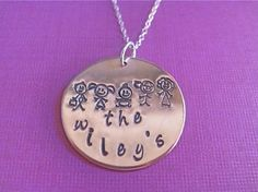 The Gang- sterling silver necklace with 1 inch copper charm hand stamped with stick figures representing your family