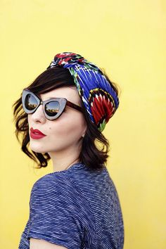 Accessorize you hair this season with a bright and colourful headscarf. Add a pop of red lipstick for a fun 60's spin.