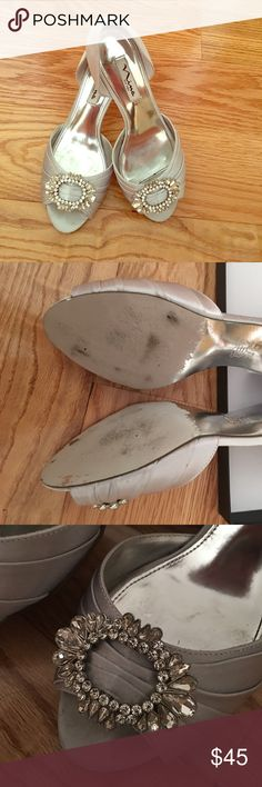 Nina silver crystal royal heels Gorgeous! only worn once Nina Silver Royal Crystal shoes. Size 8 perfect for a formal affair! Nina Shoes Heels