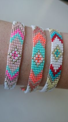 Handgeweven kralenarmbandje met verlengketting /Loom beaded gypsy boho bohemian tribal beautiful bracelet colourful door Suusjabeads op Etsy