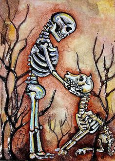 Love Lisa Luree's work! Here is her VERY Original Dia De Los Muertos GOOD DOG SKELETON day of the dead ACEO