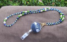Seattle Seahawks Beaded Lanyard Blue Green by TheLanyardNecklace, $30.00