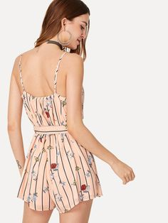 4ccdcdb7de To find out about the Stripe & Flower Print Fold Over Wrap Cami Romper at  SHEIN, part of our latest Jumpsuits ready to shop online today!