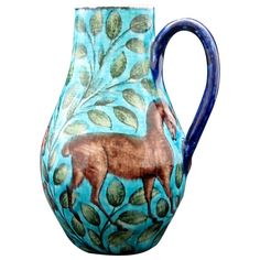 William De Morgan Jug | From a unique collection of antique and modern pitchers at http://www.1stdibs.com/furniture/dining-entertaining/pitchers/