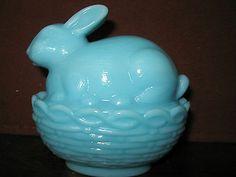 Blue milk glass bunny rabbit dish