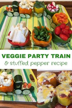 Easy directions for a veggie party train. Then it turns into dinner with this simple stuffed pepper recipe!