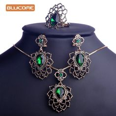 Blucome Emerald Green Rhinestone Flower Jewelry Sets Hollow Vintage Turkish African Pendant Necklace Dangle Earring Jewelry Set