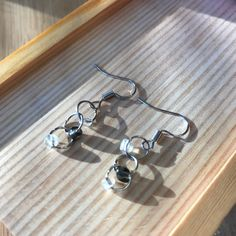 """Chain link earrings mixed with tiny Clear & Grey beads. Love the simple and """"fit with any outfit"""" design. Beaded Earrings, Drop Earrings, Handmade Jewelry, Beads, Chain, Grey, Outfit, Simple, Link"""