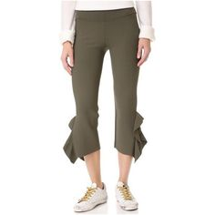 Opening Ceremony Flounce Hem Pants (3.666.300 IDR) ❤ liked on Polyvore featuring pants, capris, army green, cropped pants, cropped capri pants, brown crop pants, cuffed pants and army green pants
