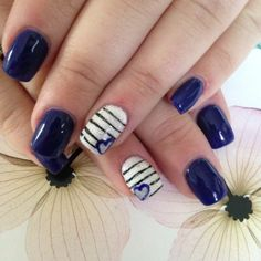 Dark Blue, and White with Strips and Heart Nail Art Design