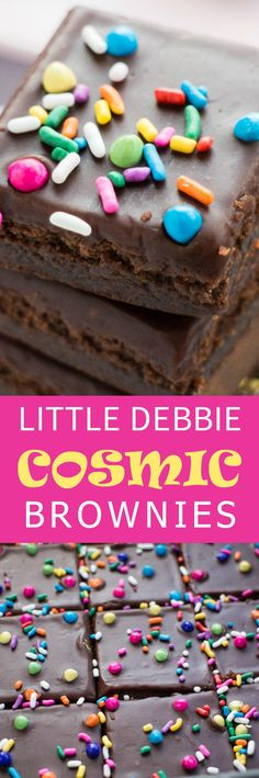 HOMEMADE Copycat Little Debbie Cosmic Brownies - just like you remember as a kid! This easy to make recipe includes a rich chocolate fudge frosting and rainbow sprinkles on top! Make this brownie dessert to share with your family!