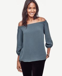 Image of Off The Shoulder Blouse color Smoked Spruce