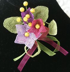 Spring Flower Needlelace Brooch Pin Eyeglass by AlizeBorealis, $22.00