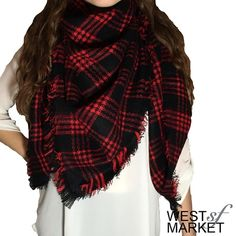 -BACK FOR FALL- 🍂 Plaid Blanket Scarf Plaid blanket scarf made with cashmere & acrylic. Exceptionally soft fabric! 55x55 inches. We cannot accept discounted offers on items marked RETAIL! West Market SF Accessories Scarves & Wraps