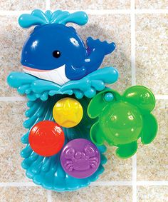 Bitty bathers watch as water rushes through whirling wheels in this whale bath toy. Constructed from waterproof materials and featuring two suction cups that easily attach to most bathroom surfaces, it's a totally engaging, tactile tub toy, perfect for getting little ones excited about bath time!