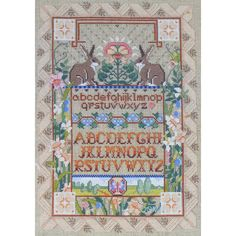 LINEN SAMPLER RABBITS Vintage Cross Stitch Kit Nancy Rossi Kooler Studio by NeedleLittleTherapy on Etsy Crewel Embroidery Kits, Embroidery Thread, Linen Pillows, Linen Fabric, Butterfly Photos, Vintage Cross Stitches, Old Mother, Cross Stitch Kits, Bohemian Rug