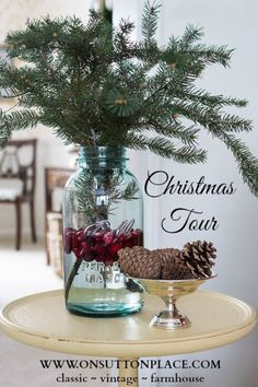 Farmhouse Style Made Easy | Christmas decor | Cranberries and fresh pine in a vintage blue mason jar.