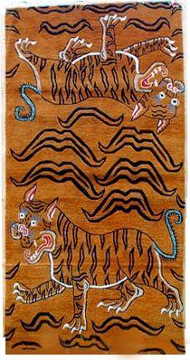Blue-Tailed Yin-Yang Tiger Carpet, 3'x6'