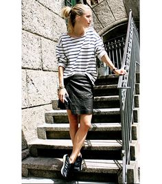 @Who What Wear - Stripe Shirt + Leather Skirt                 These two wardrobe workhorses are great apart, but even better together year-round.  Image from Look De Pernille