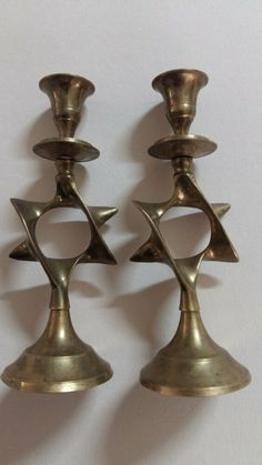 Vintage Solid Brass Candle Holders, Lot of Two Candle Stick