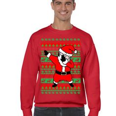 Dabbing santa ugly christmas sweater men sweatshirt