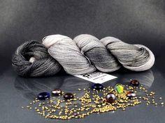 Foggy Dawn - Hand Dyed Yarn, Merino Superwash, Tencel in Gray Shades, Hand Dyed Lace Yarn by AspenYarnDyeing on Etsy