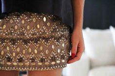 Embellished mini skirts.