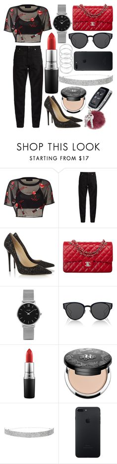 """418."" by plaraa on Polyvore featuring Yves Saint Laurent, Jimmy Choo, Chanel, CLUSE, Christian Dior, MAC Cosmetics and Kat Von D"