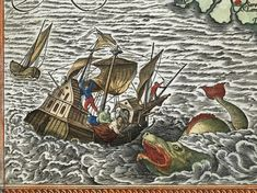 Jonah being cast overboard to the sea monster, from Ortelius's map of the Holy Land in his Theatrum orbis terrarum.