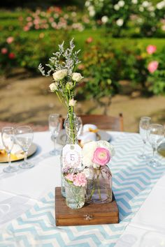 Stained cigar box centerpieces