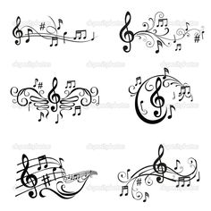 Download - Set of Musical Notes Illustration - in vector — Stock Illustration #9783951