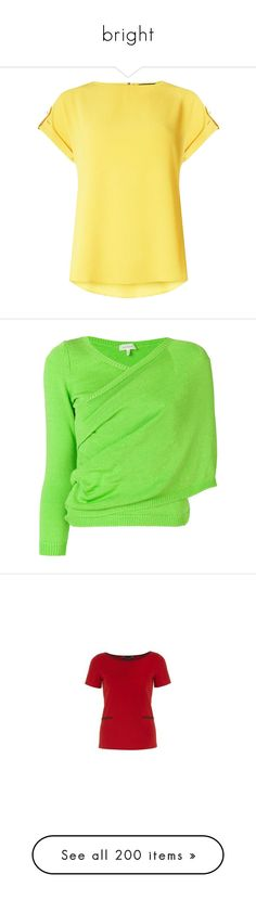 """bright"" by countrycousin ❤ liked on Polyvore featuring tops, t-shirts, dorothy perkins tops, sleeve t shirts, zipper top, button t shirt, yellow top, sweaters, green and asymmetrical wrap sweater"