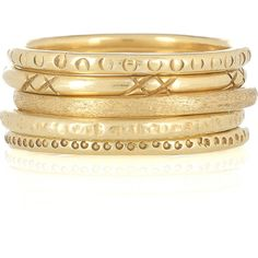 Mathias Chaize Set of five gold-plated rings (2.610 RUB) ❤ liked on Polyvore featuring jewelry, rings, bracelets, accessories, bracciali, gold plated jewellery, gold plated jewelry, gold plated ring and peter pilotto