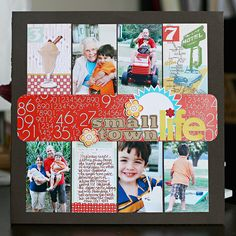 #papercraft #scrapbook #layout. two rows of photos + journaling / title in the middle.