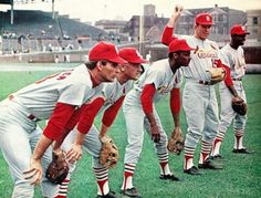 At Wrigley Field 1968: Mike Shannon, Roger Maris, Curt Flood, Tim McCarver, Lou Brock.