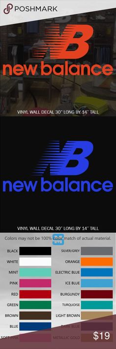 NEW BALANCE VINYL WALL DECAL STICKER CHOOSE COLOR CUSTOM MADE DECAL NEW BALANCE LOGO  ☆CONTACT ME FOR CUSTOM DESIGNS☆  ☆COLOR☆ Choose from 16 colors listed in the 2nd photo in listing at check out add your color to notes or default black will be sent   ☆MATERIAL☆ Oracal 641 Premium Vinyl  ☆VINYL PRODUCT DETAILS  - Rated for Indoor or Outdoor use - Dishwasher safe 24 hrs after application - Easy Peel & Stick Application - Easy to Remove - UV / Fade Resistant - Adhesive on the back of…
