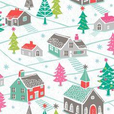 Christmas Village Dashwood Studios Winter Christmas Snow Fabric Cotton, Holiday