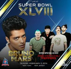 Who is ready for Bruno Mars and the Red Hot Chili Peppers to perform the halftime show at #SuperBowl2014 ?