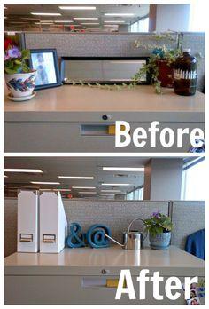 Cubical Makeover {After} – tixeretne Work Desk Decor, Small Office Decor, Cubical Ideas, Office Ideas, Office Designs, Cubicle Wallpaper, Chic Cubicle Decor, Cubicle Organization, Cubicle Makeover