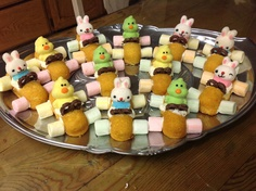 Easter Desserts. Easter Bunny Car. Twinkie, marshmallows, peeps, pretzels, frosting. Treats for the kids. www.stephaniescustominteriors.com
