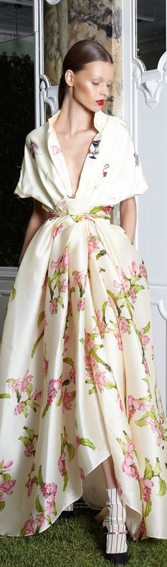 Daniele Carlotta.~ Summer Low-V Neckline Pleated Skirt Maxi Dress, Oyster w Pink+Green Floral Print 2015
