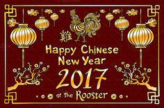 Chinese New Year rooster 2017 vector by Rommeo79 on @creativemarket