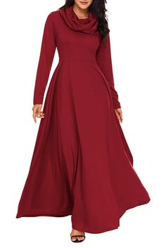 Great Sale AlvaQ Winter Elegant Casual Swing Maxi Dresses for Women with Sleeves Plus Size High Waisted Long Gown Long Sleeve Maxi, Maxi Dress With Sleeves, Dress Up, Swing Dress, Dress Long, Maxi Robes, Maxi Dresses, Elegant Maxi Dress, Casual Outfits