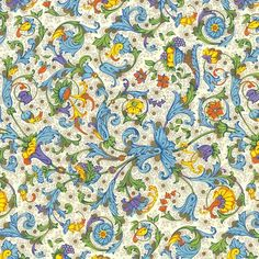 """Rossi Florentine Print - Blue Acanthus Rossi Florentine Print - Blue Acanthus Item Id: R-CRT009 Machine offset-printed by Rossi in Florence, Italy, these prints are inspired by traditional Florentine Renaissance designs. Dimensions: 19.5"""" x 27.5"""" Weight: 90 gsm Price: $3.35"""